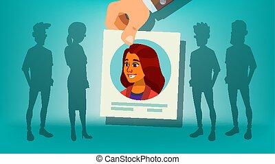 folkemængde., firma, kandidat, person., team., illustration, hånd, rekrutering, choice., stand, menneske, picking, arbejdsgiver, ydre, woman., cartoon, vector.