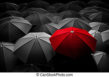 folkhop., paraply, olik, stå, leader., röd, ute