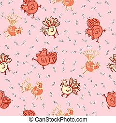 Folklore chicken farm seamless pattern