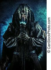 folklore - Ancient shaman warrior. Ethnic costume. Paganism,...