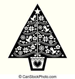 folklorique, arbre, conception, scandinave, -, modèle, art, fleurs blanches, noir, flocons neige, vecteur, oiseaux, noël