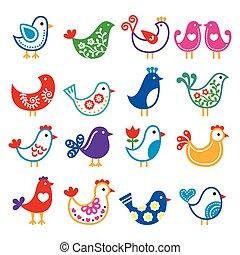 folklorique, coloré, art, oiseaux, icône, vecteur