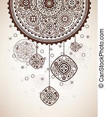 folklorique, décoratif, fond, graphique