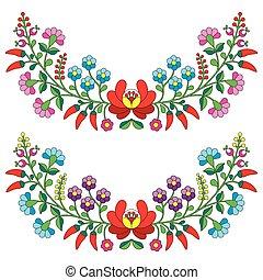 folklorique, modèle, hongrois, floral