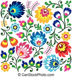 folklorique, modèle, polonais, art, floral
