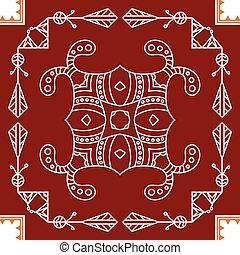 folklorique, mur, motif, tribal, peinture, conception