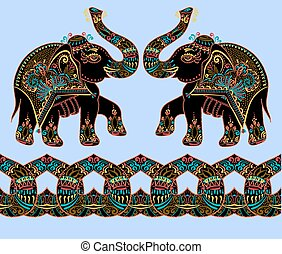 folklorique, point, illustration, art, éléphant indien, ...