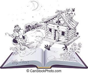 folklorique, sorcière, mortier, ouvert, vieux, poulet, russe, legs., hutte, yaga, fée, baba, livre, conte