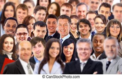 folkmassa, av, a, affärsfolk