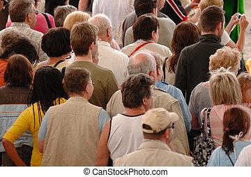 folkmassa, av, folk