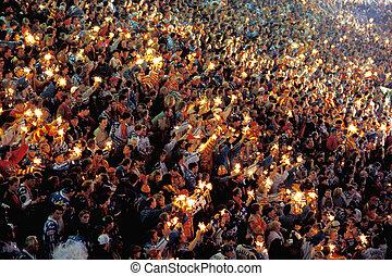folkmassa, av, folk, hos, a, konsert