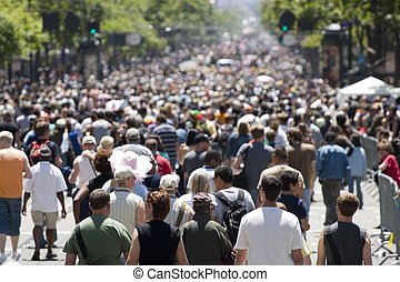 folkmassa, fokusera, framme