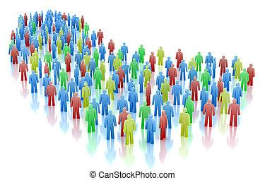 folkmassa, folk, färgrik, begrepp