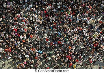 folkmassa, från, bird?s, synhåll