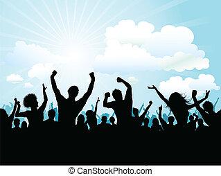 folkmassa, utanför, parti