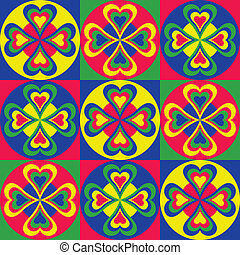 Folksy Pattern of hearts, circles and squares in primary...