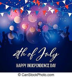 folla, 4, fondo, festa, luglio, giorno, indipendenza