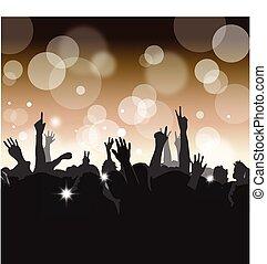 folla, a, uno, concerto