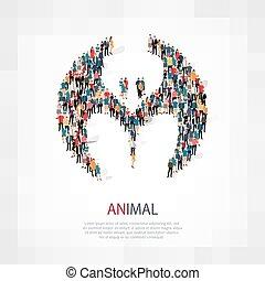 folla, animale, persone