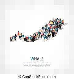 folla, balena, persone