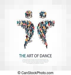 folla, ballo, persone