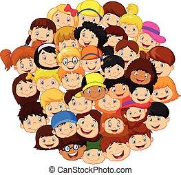 folla, bambini, cartone animato