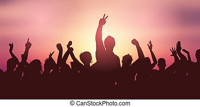 folla, bandiera, tramonto, festa, 2605, contro, cielo