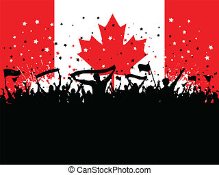 folla, canadese, festa, bandiera