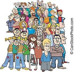 folla, cartone animato, caratteri, persone
