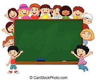 folla, cartone animato, chalkbo, bambini