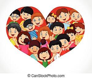 folla, cartone animato, cuore, bambini