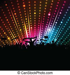 folla, fondo, discoteca