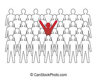 folla., insolito, concetto, illustration., persona, vettore