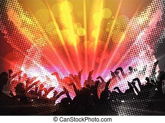 folla, macchia, festa, luci, discoteca
