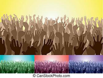 folla, mani, loro, su