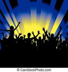 folla, persone, ballo, allegro, silhouette, festa