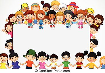 folla, s, vuoto, bambini, cartone animato