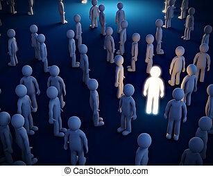 folla., simbolo, uomo, luminoso, individualismo