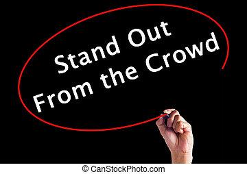 folla, sopra, scrittura, pennarello, stare in piedi, board., mano, trasparente, fuori
