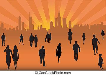 folla, strada, città