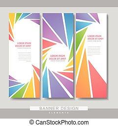 folleto, bandera, diseño, colorido, plantilla