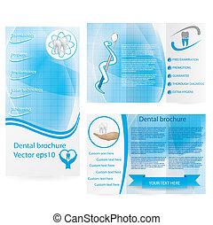 folleto, dental, diseño, ilustración