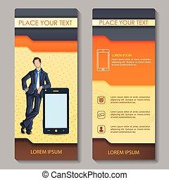 folleto, ejecutivo corporativo, diseño, empresa / negocio