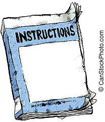 folleto, instrucción, usado