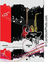 folleto, música, imag, cubierta
