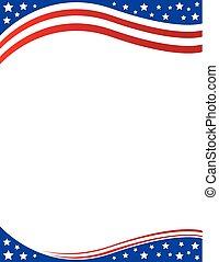 folleto, patriótico, frontera