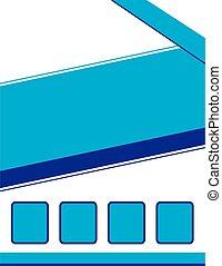 folleto, plano de fondo, azul