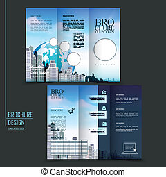 folleto, tri-fold, estilo, moderno, plantilla