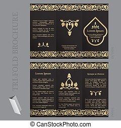 folleto, tri-fold, plantilla
