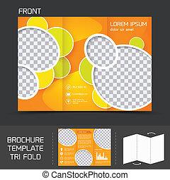 folleto, tri, plantilla, pliegue